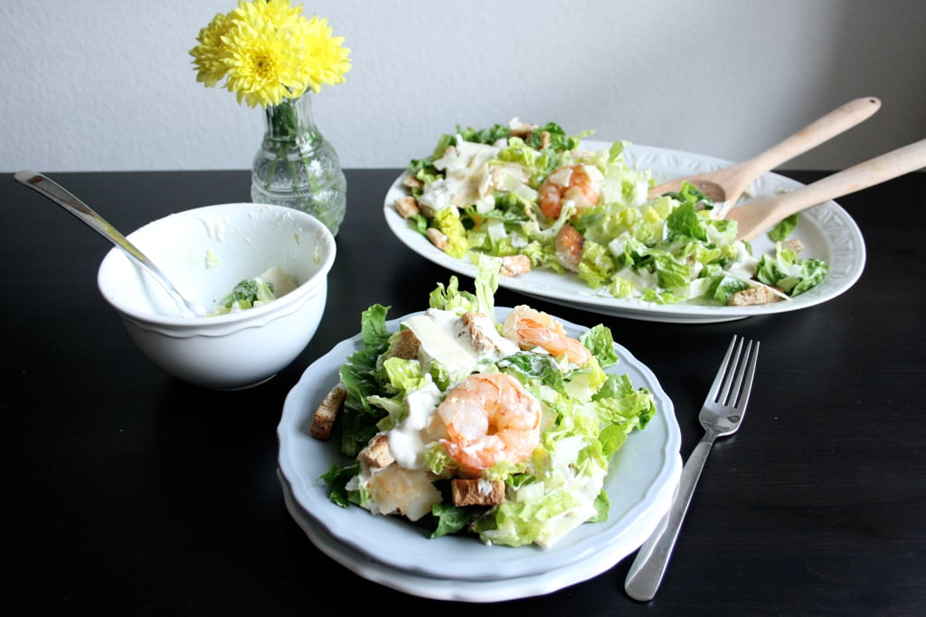 caesar salad mit parmesan croutons garnelen rezept auf carry on cooking. Black Bedroom Furniture Sets. Home Design Ideas