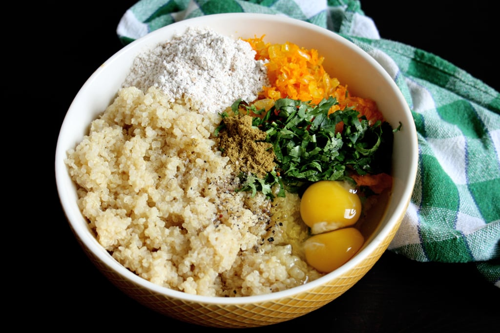 Zutaten für meine Quinoa-Bratlinge mit Karotten & Koriander