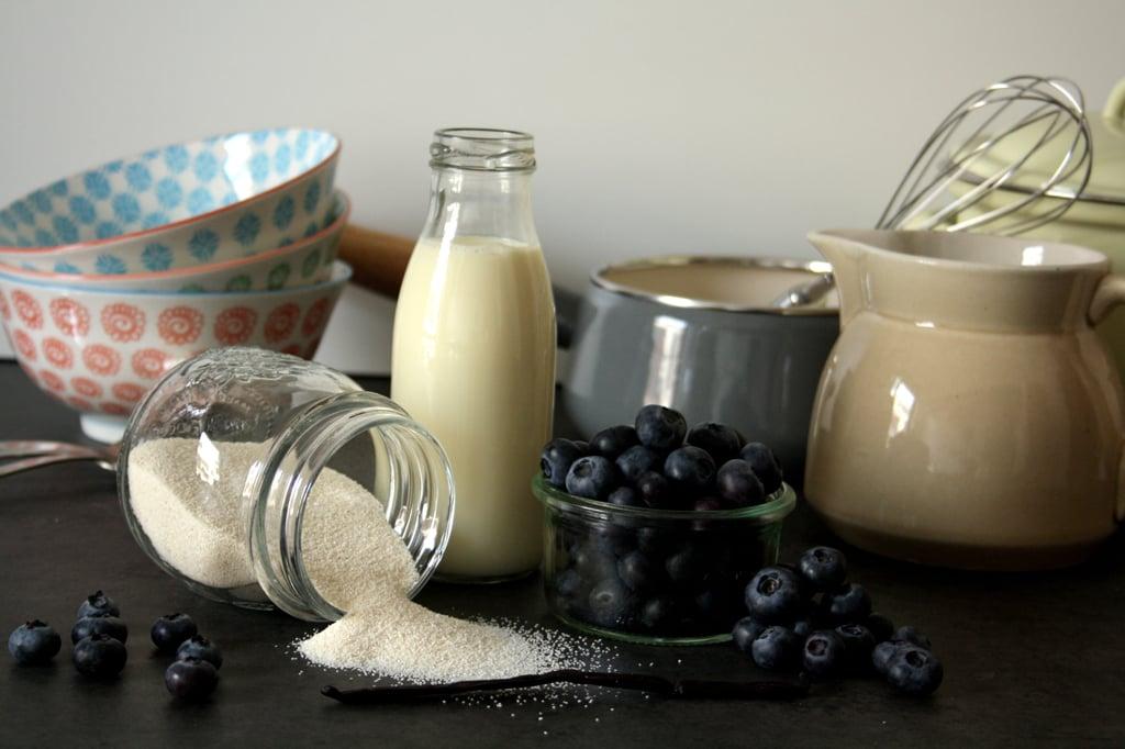 Zutaten für meinen Grießbrei mit vanilliger Heidelbeersauce