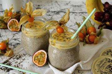 Chia-Kokos-Pudding mit Passionsfrucht