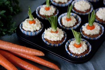 Rübli-Cupcakes mit Frischkäsecreme