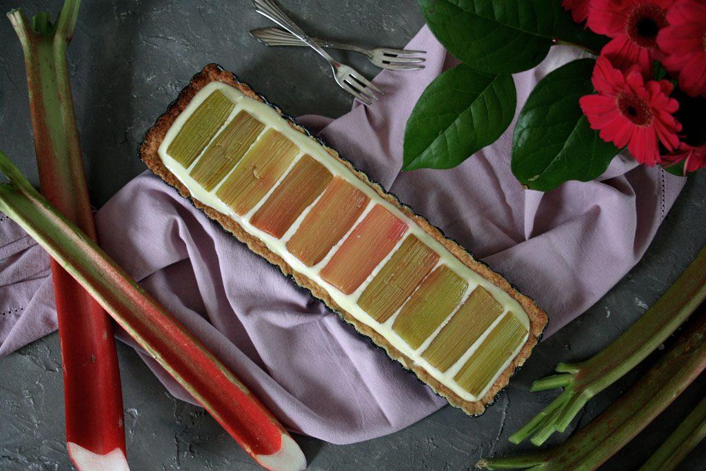 Frischkäse-Schokoladen-Tarte mit Rhabarber