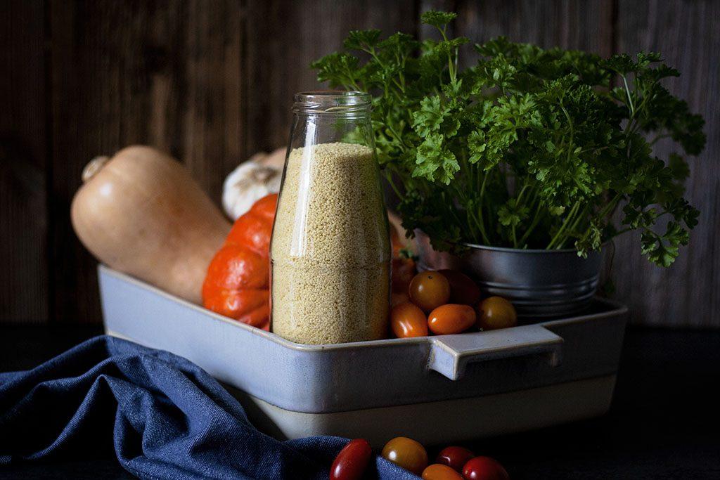 Zutaten für Mit Couscous gefüllten Kürbis aus dem Ofen