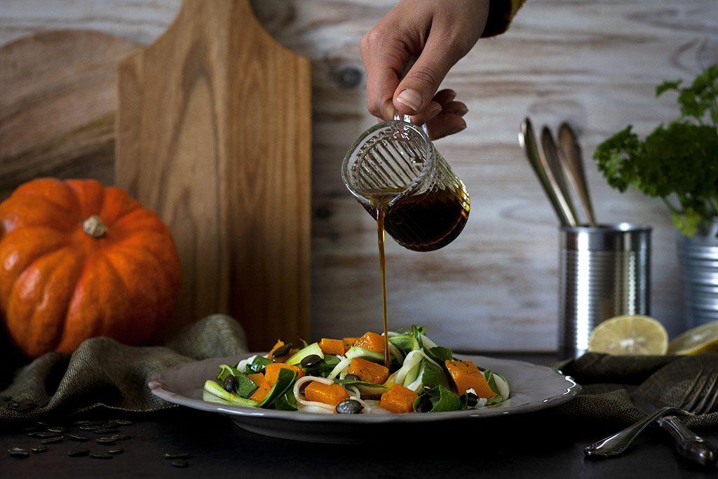 Kürbis-Reisnudel-Salat mit Sojadressing