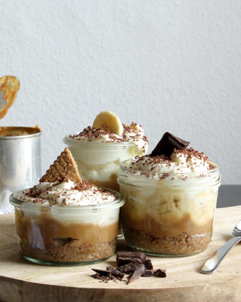 Banoffee - Dessert aus Banane, Sahne & Karamell