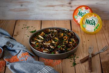 Gefüllte Auberginenröllchen in Paprika-Tomaten-Sauce mit NOA