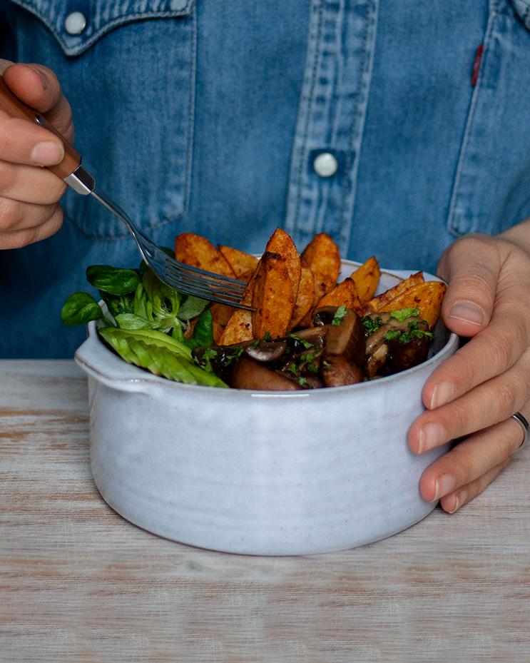 Gesundes Abendessen: Feierabend-Bowl mit Wedges & Balsamico-Pilzen