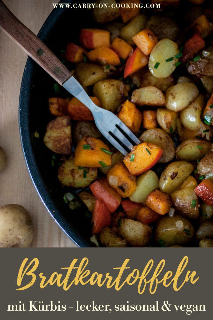 Pinterest Pin einfache Bratkartoffel-Kürbis-Pfanne: Vegan, saisonal und lecker