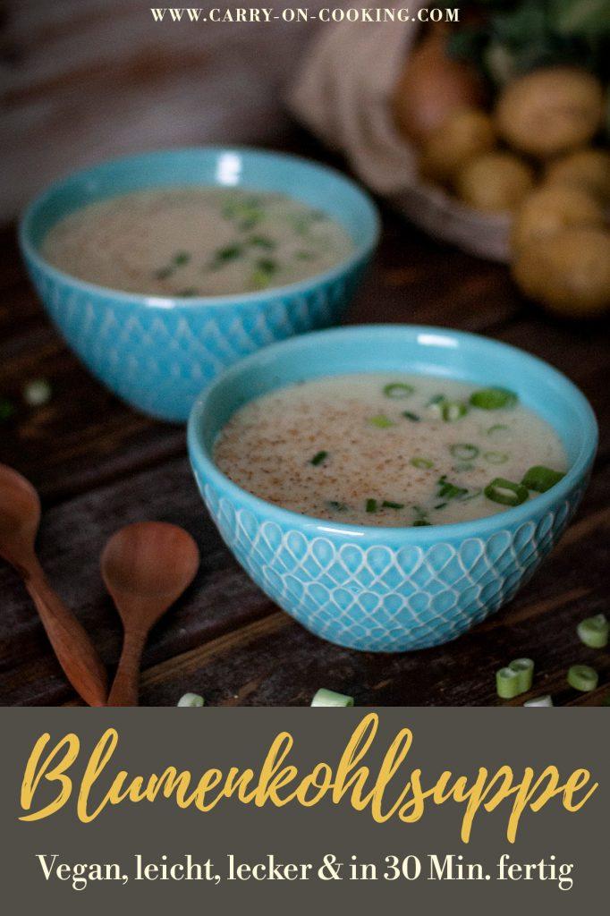 Pinterest Pin cremige Blumenkohlsuppe - einfach & vegan