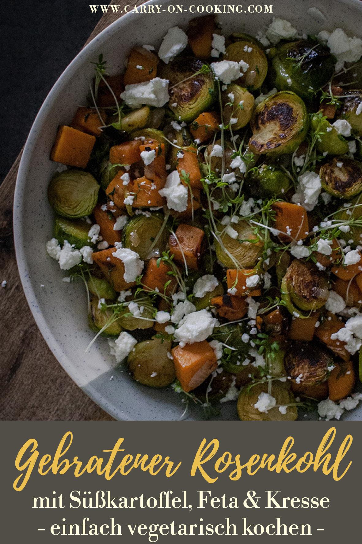 Pinterest-Pin: Gebratener Rosenkohl - vegetarisch lecker