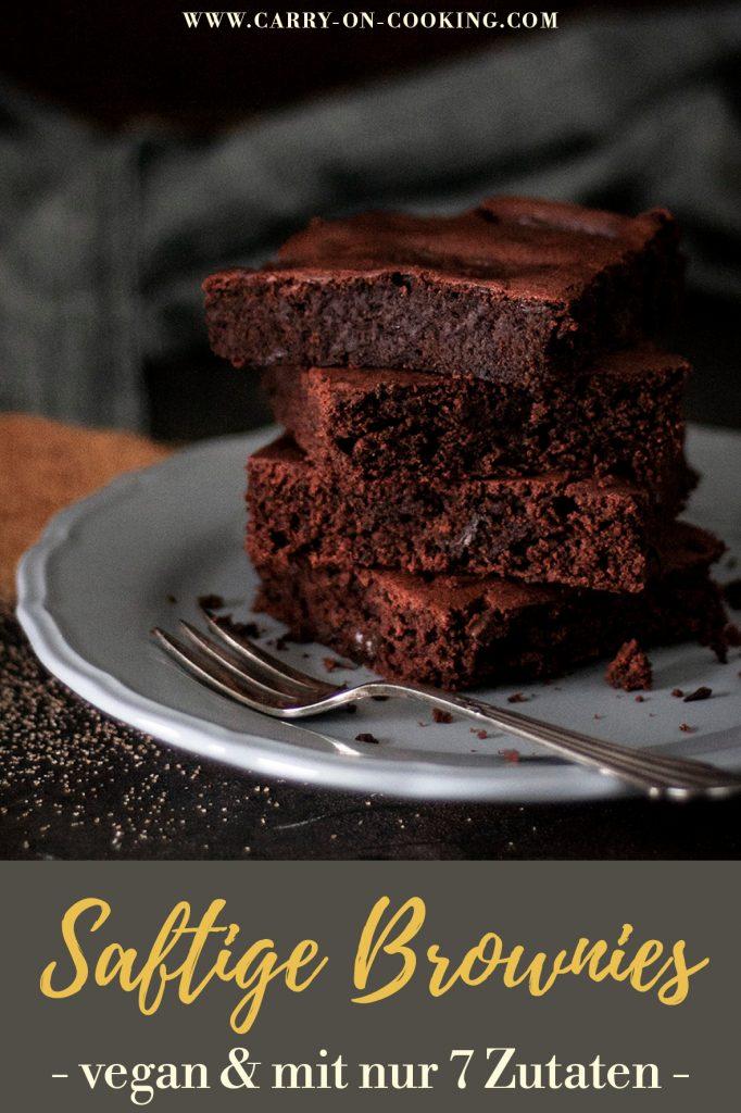 Pinterest Pin Oberschokoladige Brownies - vegan, saftig und mit nur 7 Zutaten