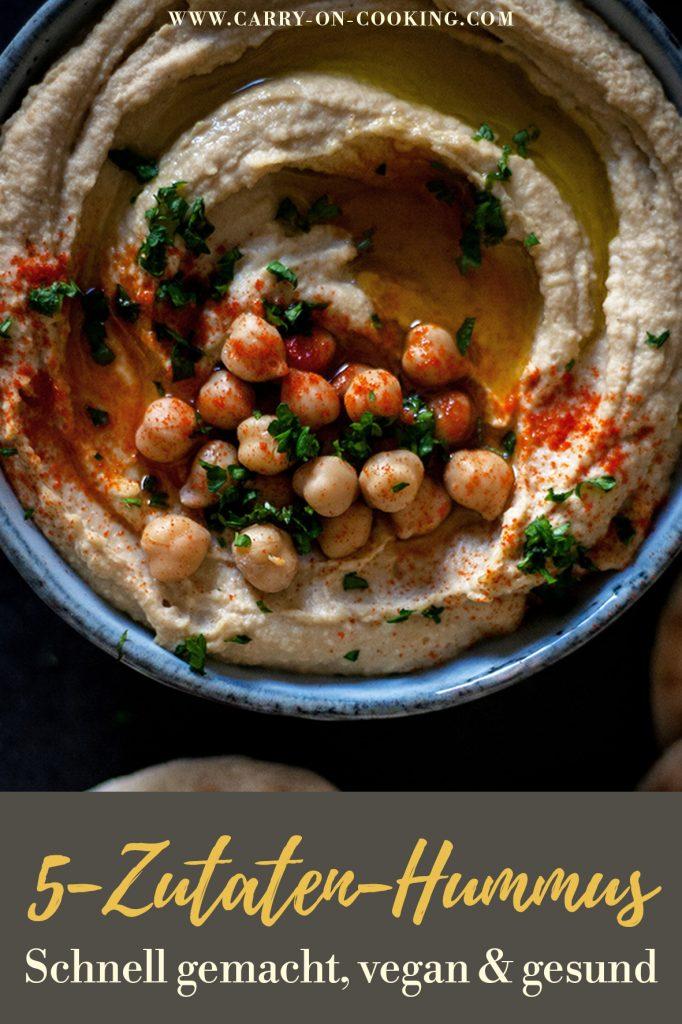 Pinterest Pin: Cremiger Hummus mit selbstgemachten Pfannenbrot - Orientalisch & vegan essen