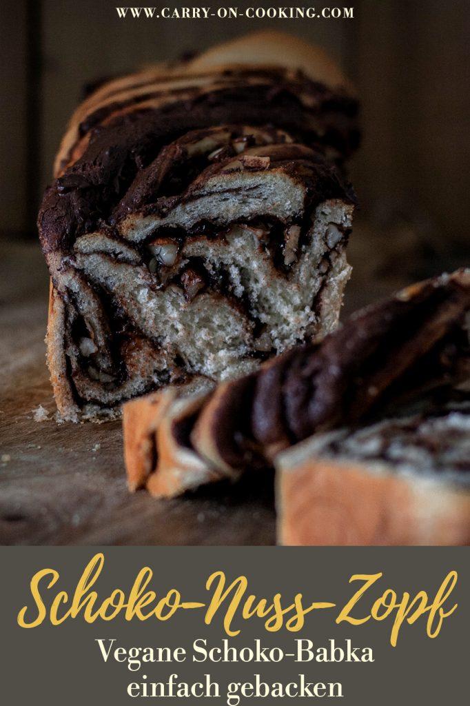Pinterest Pin: Saftiger Schoko-Nuss-Zopf - Schoko-Babka einfach gebacken