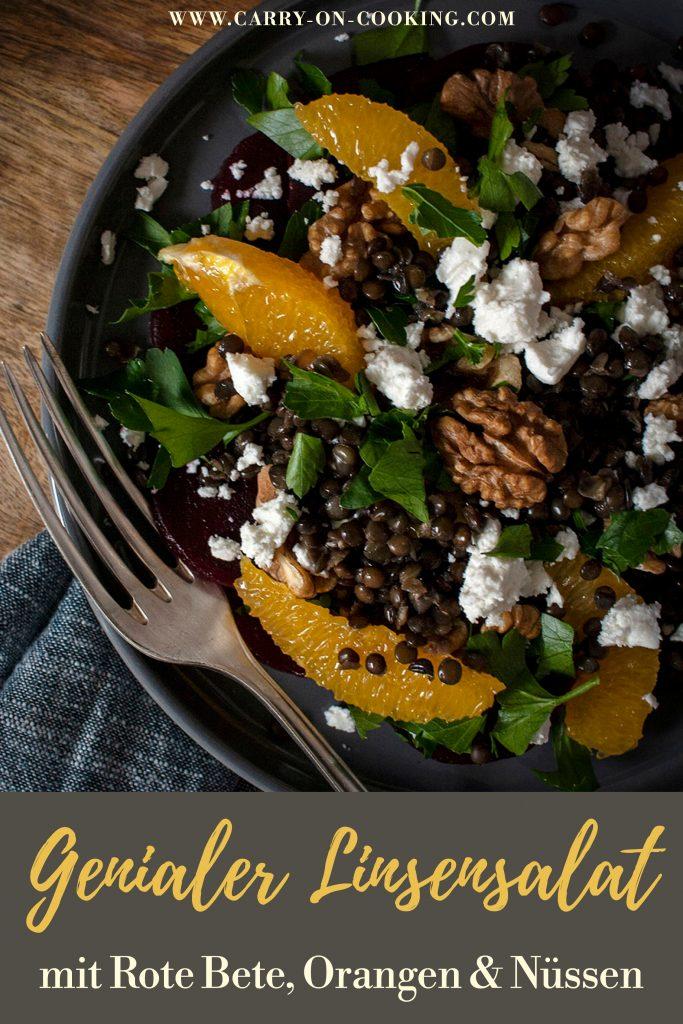 Gleich auf deine Pinterest-Pinwand pinnen: Genialer Linsensalat mit Rote Bete, Orangen & Nüssen