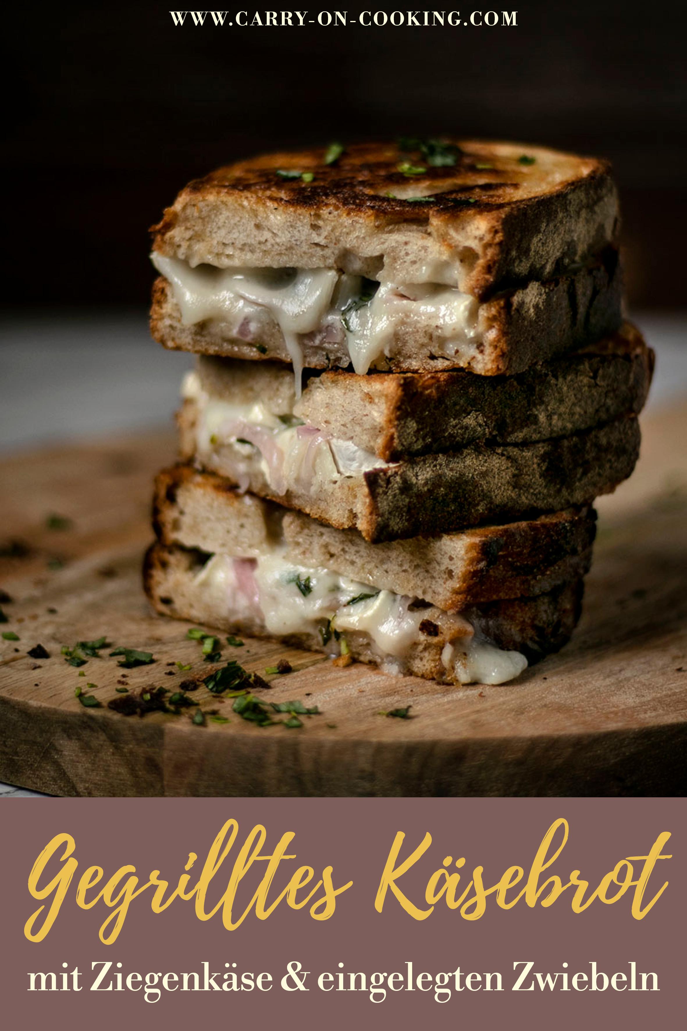 Pinterest-Pin: Gegrilltes Käsebrot mit Ziegenkäse & eingelegten Zwiebeln