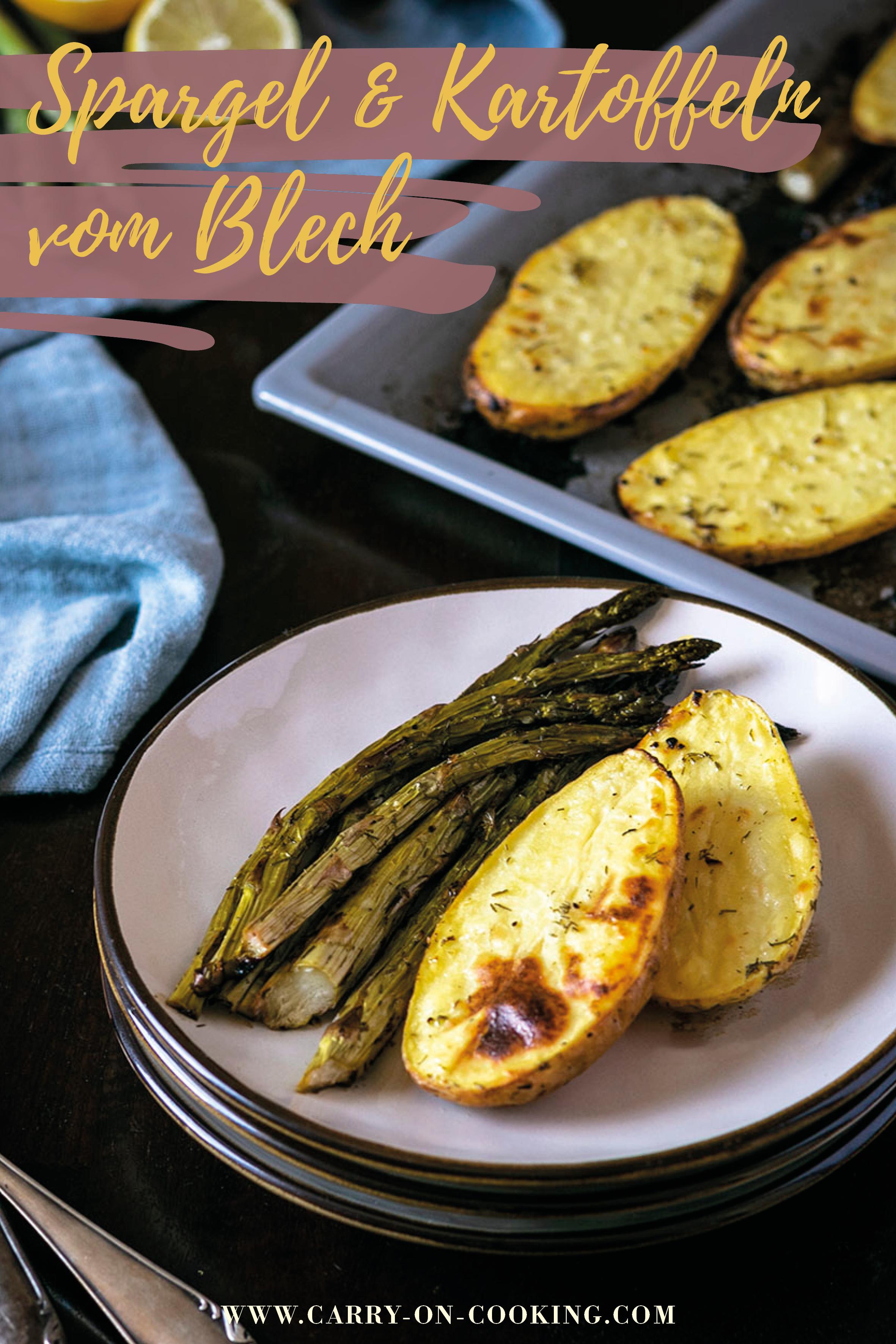 Gleich auf deine Pinterest-Pinwand pinnen: Grüner Spargel & Kartoffeln von Blech - veganes Rezept
