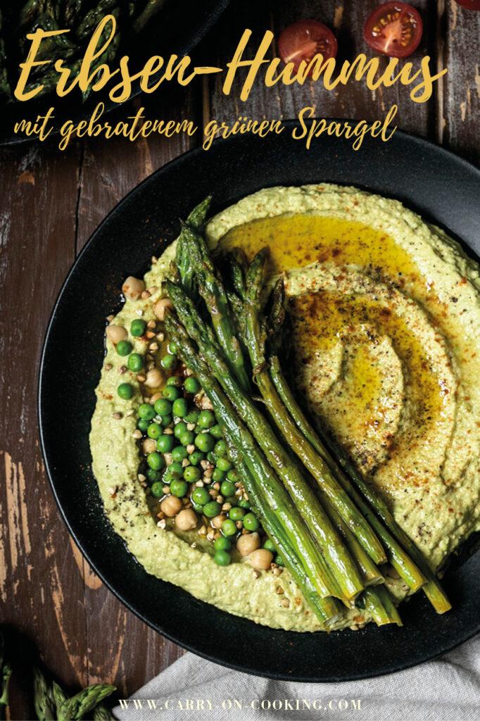 Gleich auf deine Pinterest-Pinwand pinnen: Erbsen-Hummus mit gebratenem grünen Spargel