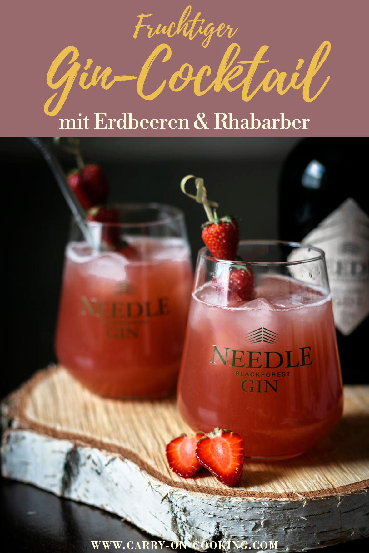 Gleich auf deine Pinterest-Pinwand pinnen: Fruchtiger Gin-Cocktail mit Erdbeeren & Rhabarber