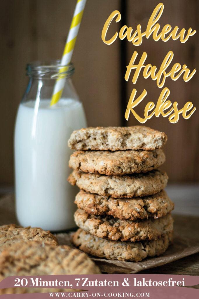 Gleich auf deine Pinterest-Pinwand pinnen: Rezept für knusprige Cashew-Hafer-Kekse