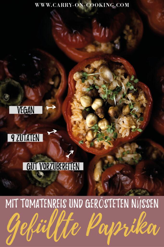 Gleich auf deine Pinterest-Pinwand pinnen: Rezept für vegetarisch gefüllte Paprika