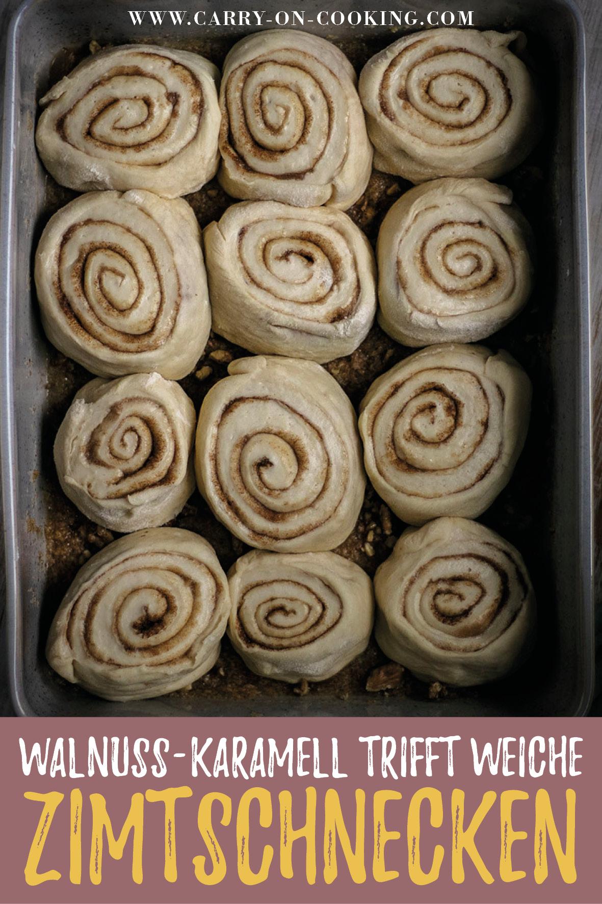 Gleich auf deine Pinterest-Pinwand pinnen: Rezept für vegane Zimtschnecken mit Walnuss-Karamell