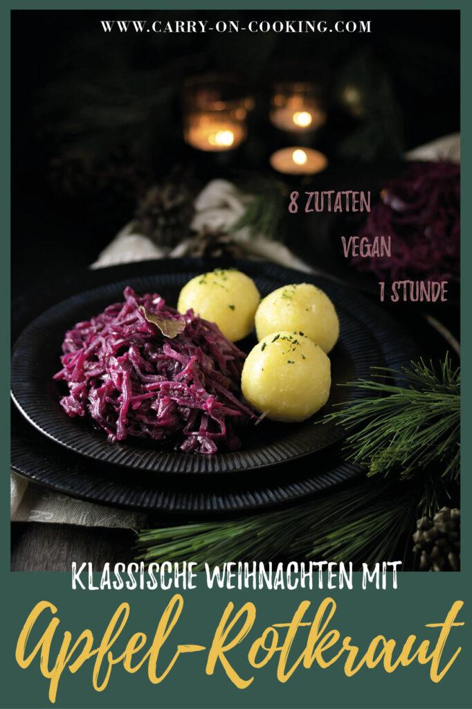 Gleich auf deine Pinterest-Pinwand pinnen: Rezept für klassisches Rotkraut | veganes Rotkohlrezept für Weihnachten