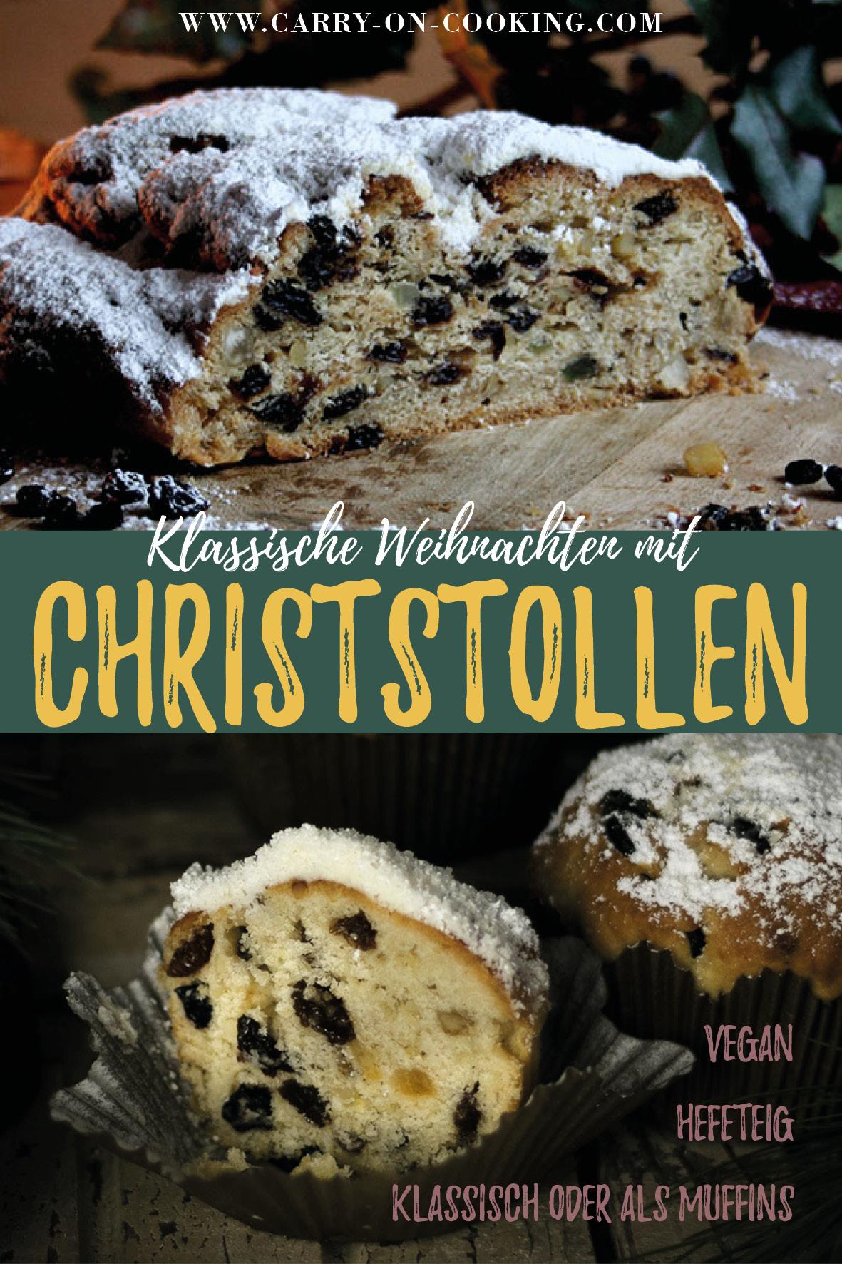 Gleich auf deine Pinterest-Pinwand pinnen: Rezept für traditionellen Christstollen & Stollen-Muffins für Weihnachten