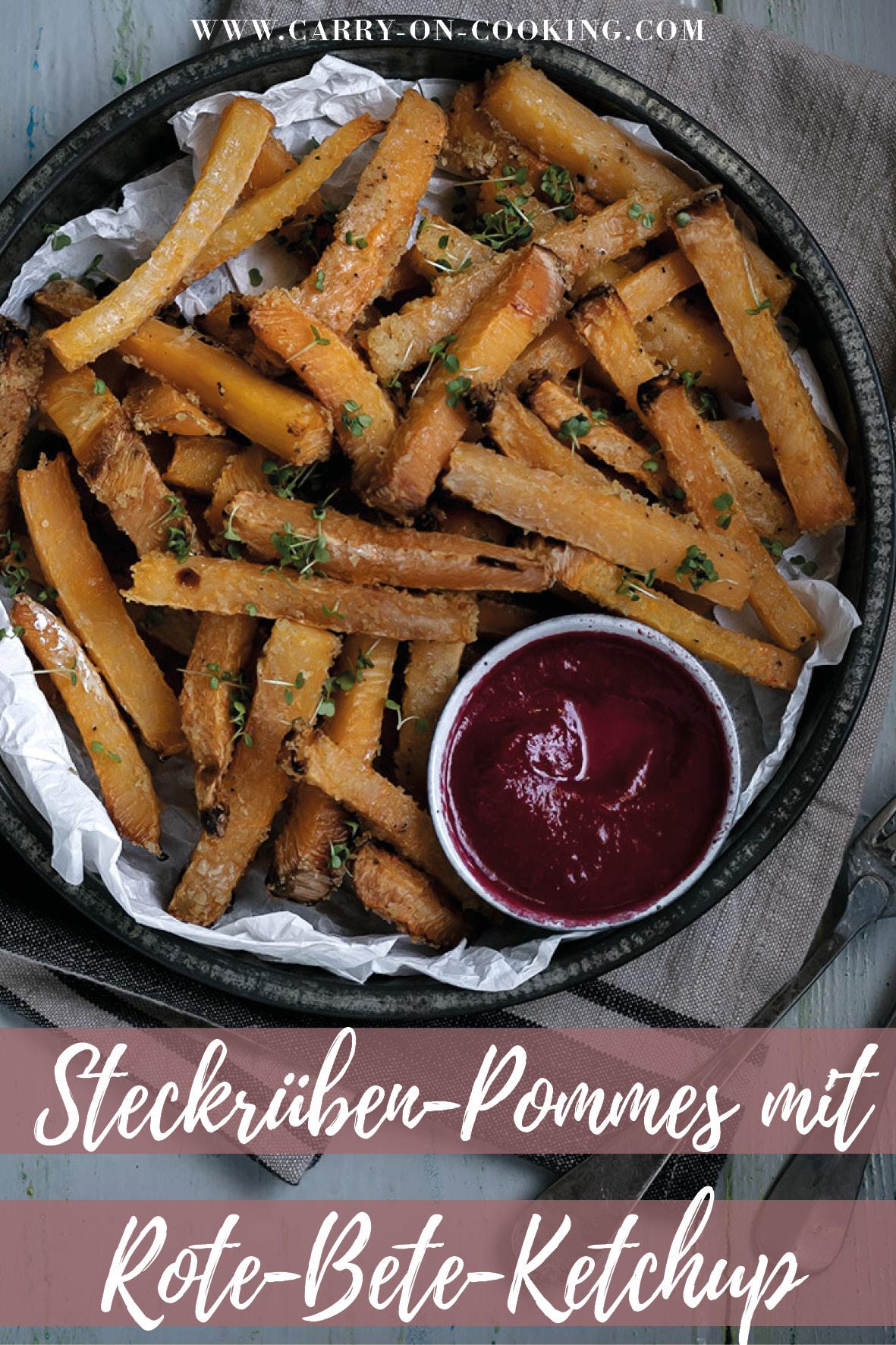 Gleich auf deine Pinterest-Pinwand pinnen: Rezept für Steckrüben-Pommes mit Rote-Bete-Ketchup