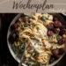 Vegetarischer Wochenplan mit 6 herzhaften Rezepten für dein Abendessen und ein Rezept zum Backen