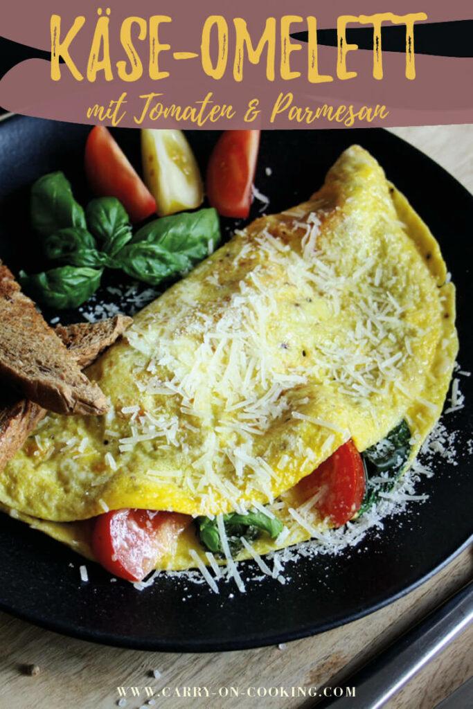 Gleich auf deinem Pinterest-Board merken: Rezept für Omelett mit Tomaten & Parmesan