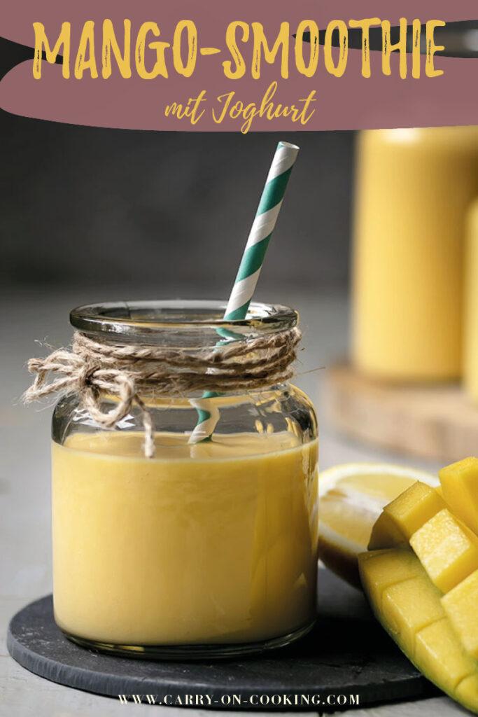 Gleich auf deinem Pinterest-Board merken: Rezept für veganen Mango-Smoothie mit Joghurt