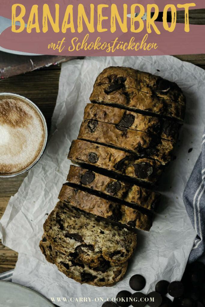 Gleich auf deinem Pinterest-Board merken: Rezept für veganes Bananenbrot mit Schokolade