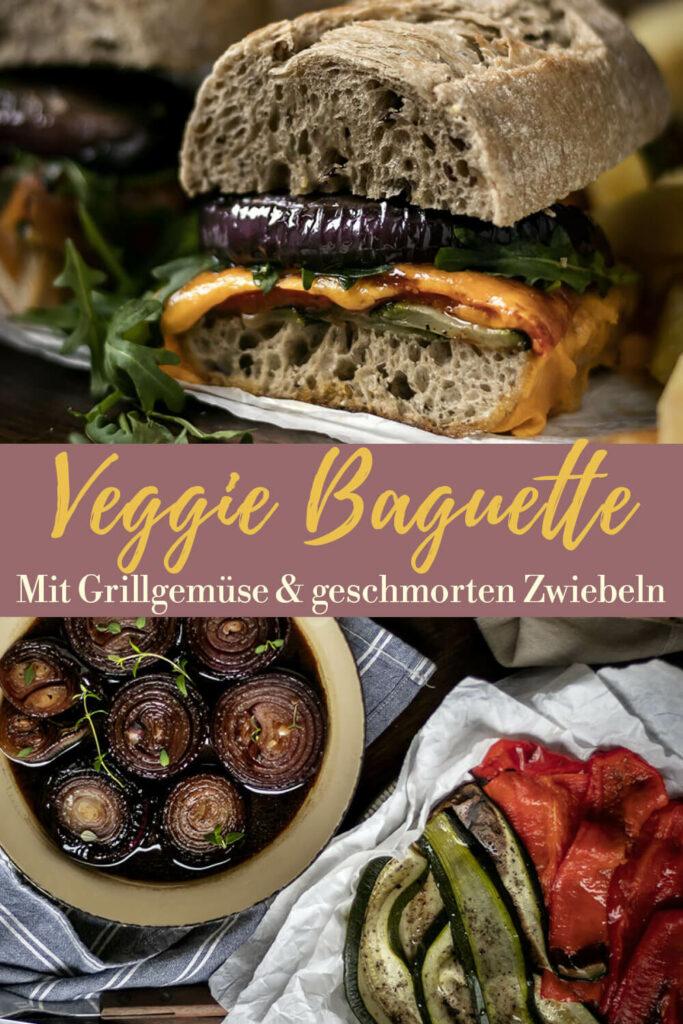 Gleich auf deinem Pinterest-Board merken: Rezept für belegtes Baguette mit gegrilltem Gemüse