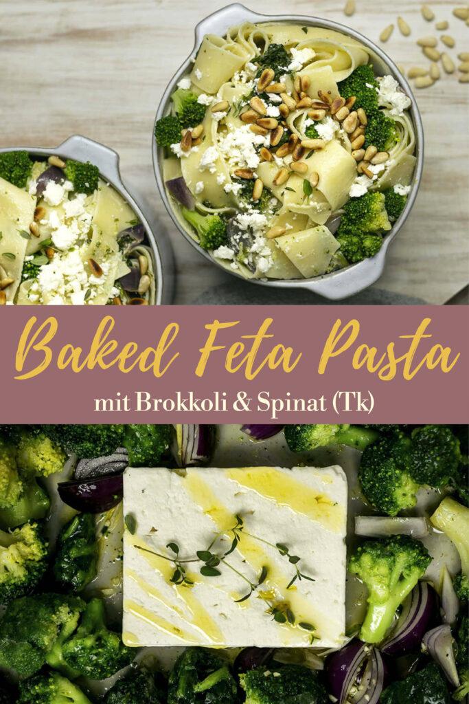 Gleich auf deinem Pinterest-Board merken: Rezept für gebackene Feta-Pasta mit Brokkoli & Spinat