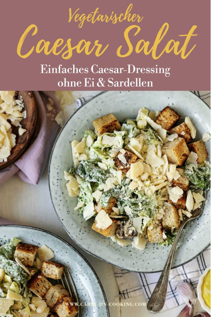 Gleich auf deinem Pinterest-Board merken: Rezept für vegetarischen Caesar-Salat mit einfachem Caesar-Dressing ohne Ei